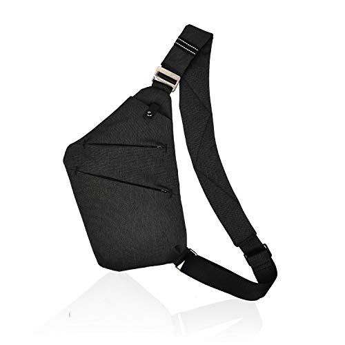 BROADREAM Multi-Pocket Crossbody, Brusttasche Herren,Anti-Diebstahl Brusttasche für Herren Und Damen (Schwarz)