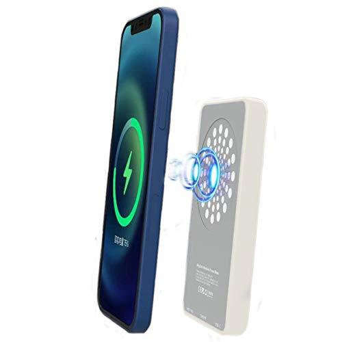 SUBAMT 2 IN 1 モバイルバッテリー MagSafe対応 iPhone 12 / 12 Pro Max / 12 Mini ワイヤレス充電 磁気吸引 15W急速充電 スタンド機能搭載 5000mAh携帯充電器 Lightning/Type-C出力/入力 マグネット内蔵 (ホワイト)