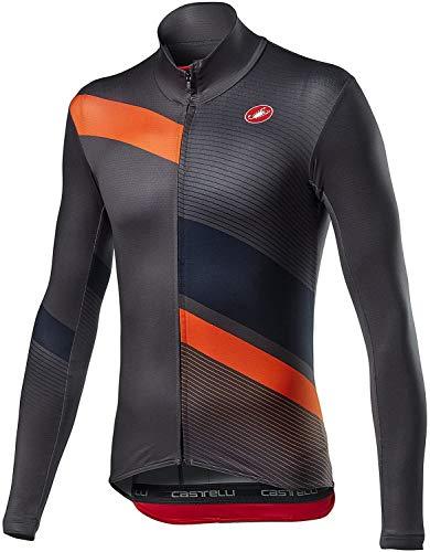 castelli Mid Thermal Pro LS Jersey Camiseta, Hombre, Dark Gray Orange, X-Large