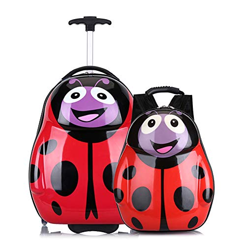XWWS 2PC Kids Luggage Set - Children Suitcase Backpack School Travel Trolley ABS, Best Gift (6 Style),Ladybug