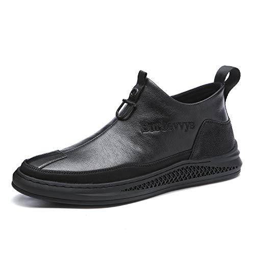 Gym Botas De Chelsea for Hombres Zapatos Casuales Toe Redondo Pull En Cuero Genuino Color Sólido Forro Suave Lateral con Cremallera (Color : Black, Size : 42EU)