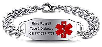 JF.JEWELRY Personalized Customize Stainless Steel Medical Alert ID Awareness Bracelet for Women and Men,5.5-8.5 inches,Free Engraving Red Medical Logo