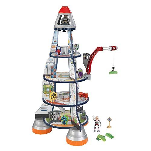 KidKraft- Rocket Ship Set de juego de madera para niños con cohete, estación espacial y figuras de...