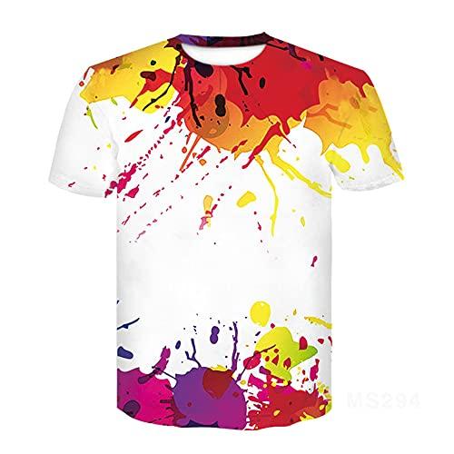 Camiseta Hombre Tendencia Estampado Casual Verano Hombres Tops Estampado De Tinta Juventud Streetwear Manga Corta Cuello Redondo Elegante Camiseta Deportiva MS294 S