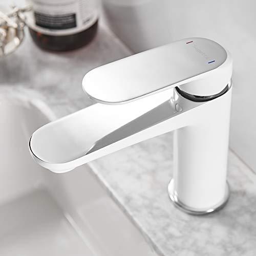 Sagetta Einhebelmischer Badarmatur Waschtischarmatur Weiß Wasserhahn Bad Armatur Mischbatterie für Waschbecken