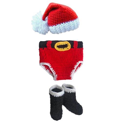 iEFiEL Costume Unisexe Crochet Tricoté Vêtements pour Les Bébé Garçon et Filles Nouveau-né Ensemble Photo Props (Papa Noel)