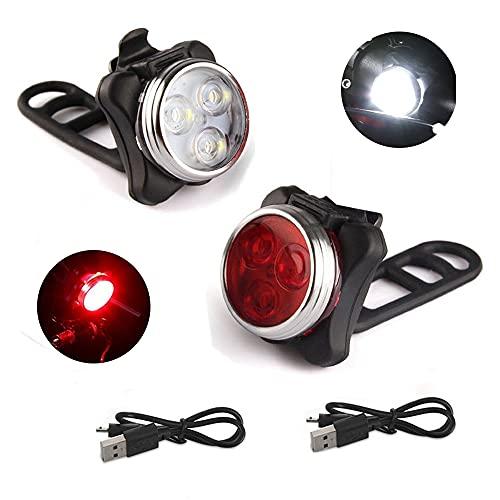 JUSHINI LED Fahrradlicht Set, Ultra Hell Fahrradbeleuchtung Vorderlicht Und Rücklichter Wasserdicht Mountain Cycling Sicher Nachtfahrt USB Wiederaufladbare Fahrradlampe, 5 Lichtmodi Fahrradbeleu