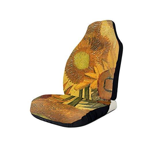 Joe-shop Asientos Delanteros de la Cubierta del Asiento de Carro - Pintura al óleo Impreso Girasol Cubiertas de Asiento de Carro, Fundas de Asiento de Carro