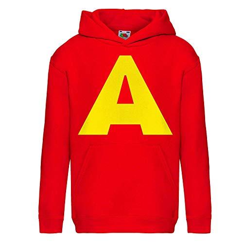 Allover - Sudadera para niño con capucha y bolsillo, color rojo, con impresión de tipo Alvin - Gorra de regalo