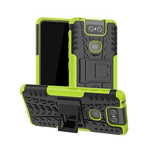 BAIYUNLONG Funda Protectora, Caso neumáticos Textura de TPU + PC a Prueba de Golpes de protección con Soporte for ASUS Zenfone 6 ZS630KL (Negro) (Color : Green)