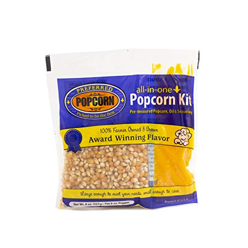 Best Price Preferred Popcorn All-In-One Popcorn Kit, For 6 oz Popper, 36 Pack, Popcorn, Oil, and Sea...