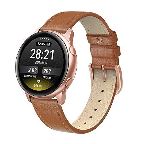 EDIMENS Echtlederarmband kompatibel mit Samsung Galaxy Watch Active 2 40 mm Band, 20 mm dünnes Ersatz-Lederband für Galaxy Watch 42 mm/Active 2 Smart Watch Damen Herren