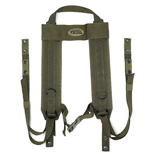MELOTOUGH TSIDEA Military Outdoor H-Harness Battle Suspenders Tactical Suspender with Snap Loop (Oliver Green)