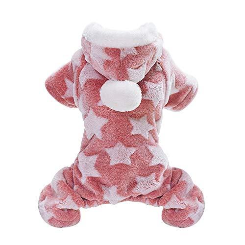 JINAN Mono de invierno clido para cachorros y gatos, disfraz para perros pequeos y medianos (color: rosa, talla: XL)