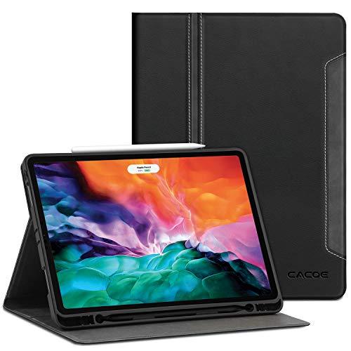 CACOE iPad Pro 12.9 2020 Hülle mit Stifthalter - Premium PU Ledertasche Weiches Flexibles TPU Smart Cover mit Auto Schlaf/Wach Funktion Schutzhülle für iPad Pro 12.9 2020, Schwarz