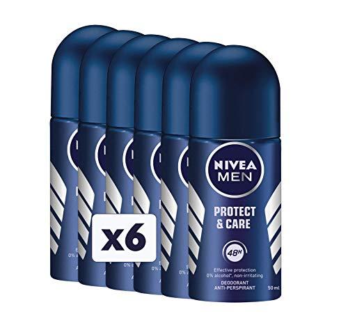 NIVEA Protect & Care Deodorante Men Roll-On, 6 Confezioni da 50 ml