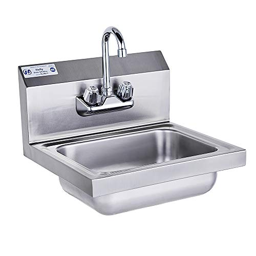 Stainless Steel Sink for Washing with Faucet NSF, Commercial Wall Mount Hand Basin for Restaurant, Kitchen and Home, 17 x 15 Inches