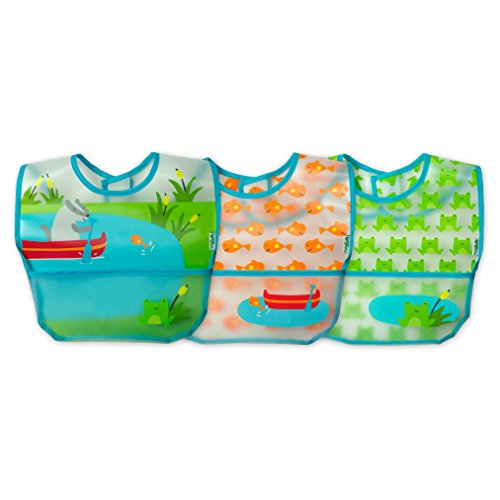 green sprouts Wipe-off Bibs (3 pk) | Waterproof protection for messy eaters | Flip-pocket easily catches stray food, Extra-long coverage to protect clothes, Made from safer plastic, Adjustable closure