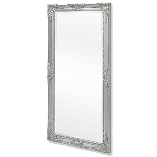 vidaXL Espejo de Pared Estilo Barroco 120x60cm Plateado Adorno Decoración Casa