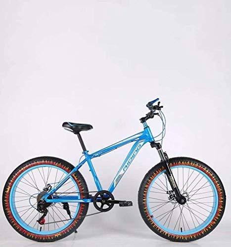 ZGYQGOO Mens Adulti Fat Tire Mountain Bike, Doppio Freno a Disco Spiaggia Neve Biciclette, ad Alta Acciaio al Carbonio Telaio Cruiser Bikes, 24 Pollici Fiamma Ruote,D,21 Speed