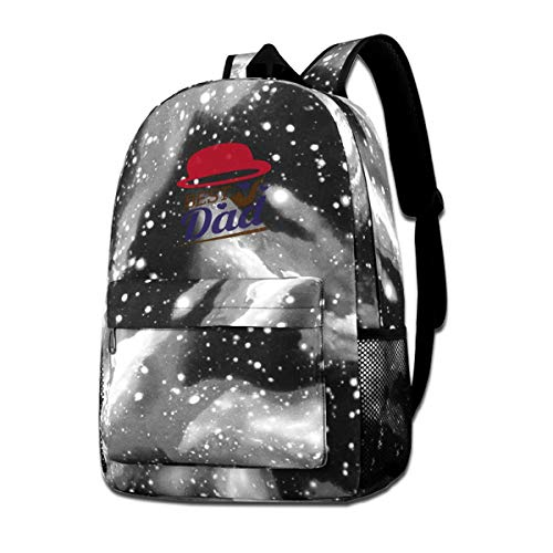 Why-Shop Fathers Day Best Dad Galaxy Backpack Teenager Student Canvas Bags Travel Hiking Camping Daypack