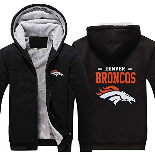 LCY Männer NFL Hoodies - Denver Broncos Football Fans Langarm Eindickung beiläufige Reißverschluss Jersey Sweater,A,5XL
