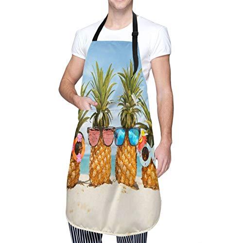 DAHALLAR Ajustable Colgante de Cuello Personalizado Delantal Impermeable,Gafas de sol Piñas Summer Beach,Babero de Cocina Vestido para Hombres Mujeres con 2 Bolsillos Centrales