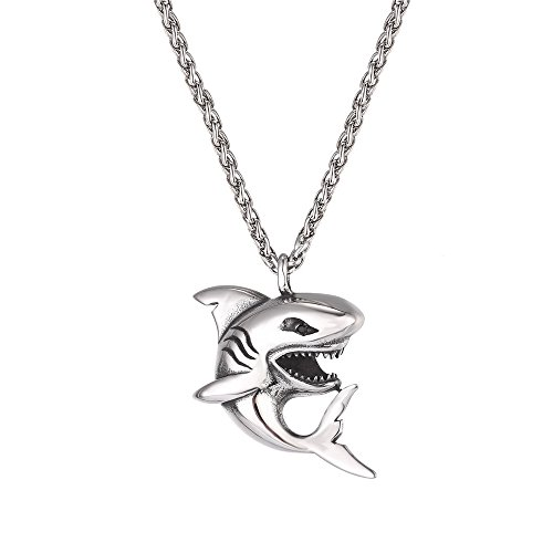 U7 Punk Shark Pendant Animal Jewelry with Stainless Steel Chain 22 Inch