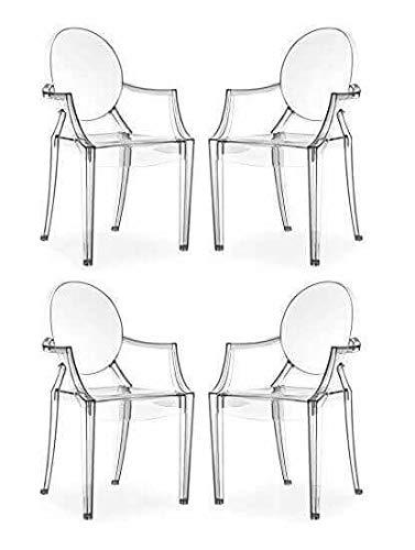 Milani Home s.r.l.s. Set di 4 Sedie Moderne di Design in Policarbonato Trasparente per Sala da Pranzo Cucina Ufficio Ristorante Bar