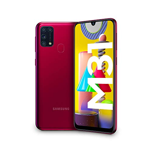 Samsung Galaxy M31, Smartphone, Display 6.4' Super AMOLED, 4 Fotocamere Posteriori, 64 GB Espandibili, RAM 6 GB, Batteria 6000 mAh, 4G, Dual Sim, Android 10, [Versione Italiana], Red, Esclusiva Amazon