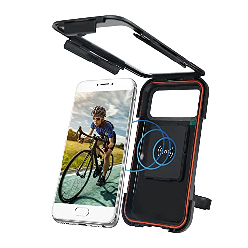 Motorcycle Phone Holder,Ipx4 Waterproof Anti-Shake Wireless Charger Phone Mount,Suitable For Mobile Phones That Support Wireless Charging