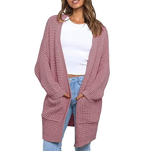 EpicLife Casual Cardigan suéteres para mujeres Color sólido manga larga oversize punto Cardigan Otoño Invierno Chaqueta, rosa, M