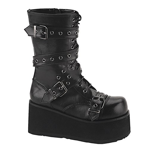 Demonia Trashville-205 - Gothic Punk Industrial Plateau Stiefel Schuhe 36-46, Größe:EU-45 (US-M12)