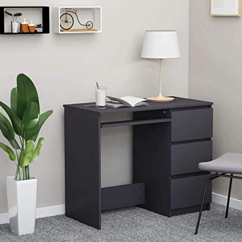 vidaXL Escritorio Mesa Estudio Trabajo Muebles de Oficina Despacho Ordenador Decoración Capacidad de Almacenaje de Aglomerado Gris