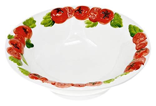 Lashuma Handgemachte Salatschale aus Italienischer Keramik, Schüssel im Tomaten Design, Runde Servierschüssel 27 cm, Tief 6 cm