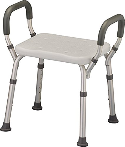 Bath Seat Shower Bench with Arms, Adjustable Shower Chair with Arms Padded Handles, without Back, Medical Shower Chair Bench Bath Stool Safety Shower Seat for Elderly, Adults, Disabled, 300 Lbs, White
