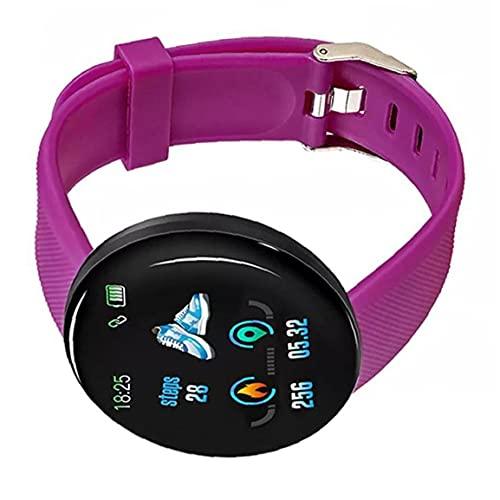 Presión inteligente pulseras inteligentes de Sangre del ritmo cardíaco Recordatorio Supervisión de llamadas pulsera con pantalla táctil de la púrpura