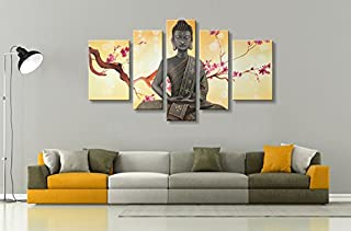 Winpeak Pure Handmade Framed Large Canvas Art Buddha Oil Paintings on Canvas 5 paenl Wall Decor Contemporary Artwork Stretched Ready to Hang (68