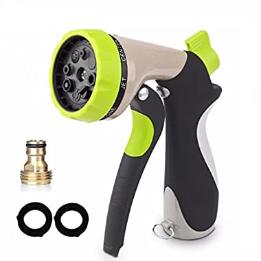 HOUSWOUKER Garden Hose Nozzle Water Spray Nozzle- 8 Watering Patterns Heavy Duty High Pressure Sprayer for Car Wash, Cleaning, Watering Lawn, Garden & Pets