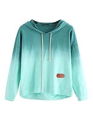 SweatyRocks Women's Long Sleeve Hoodie Sweatshirt Colorblock Tie Dye Print Tops Teal L