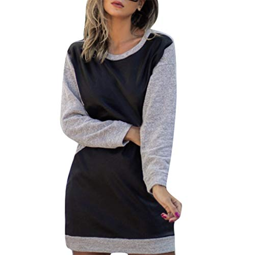 Buy AgrinTol Women Fashion Casual O-Neck Splice Loose Long Sleeved Sport Dress Sweater Dress Mini Dr...