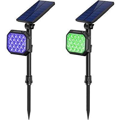 JSOT Solar Flood Lights Outdoor, Bright 22 LED Colorful Landscape Lamps 2 Pack Waterproof Decorative Spotlight for Garden Yard Patio