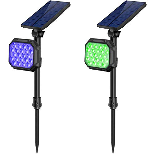 JSOT Solar Lights Outdoor, 22 LED 7 Multi-Color Auto Spotlight Landscape Lighting for Garden Yard Pathway Patio Porch Garage Yard Lawn Wall 2 Pack