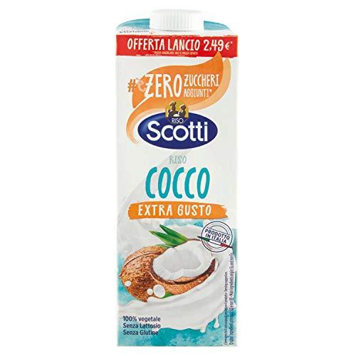 Riso Scotti - Riso Cocco Extra Gusto - Latte di Cocco con Riso senza Lattosio, senza Glutine, senza Zucchero, 100% Vegetale - 1 L