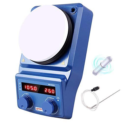 Agitador digital magnético de 5 pulgadas para placa calefactora LED - Cuatro E con placa de cerámica recubierta, 100-1500 RPM, 5 L, 600 W - Dispositivo de banco para laboratorio de clínicas de investigación científica, aulas, enchufe de EE. UU.