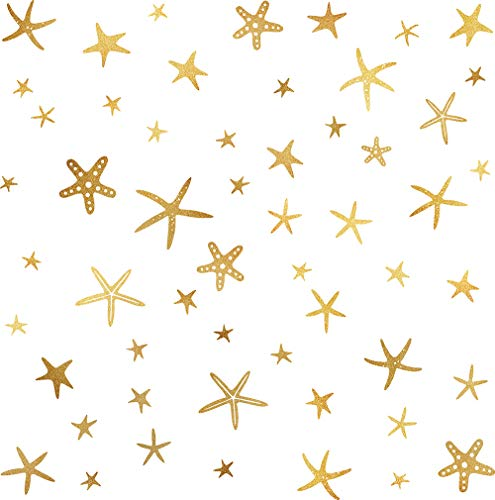Starfish Wall Decals Star Wall Decals Sea Wall Decals Starfish Stickers Vinyl Wall Art Nursery Sea Wall Stickers Home Decor Peel&Stick Wall Decal-55 Starfishes Vintage Gold