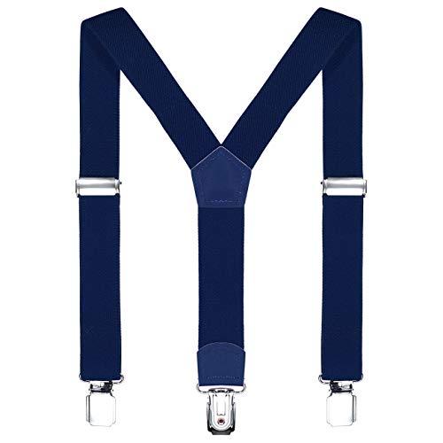 DonDon Kinder Hosenträger dunkelblau 2 cm schmal längenverstellbar für eine Körpergröße von 80 cm bis 110 cm bzw. 1-5 Jahre