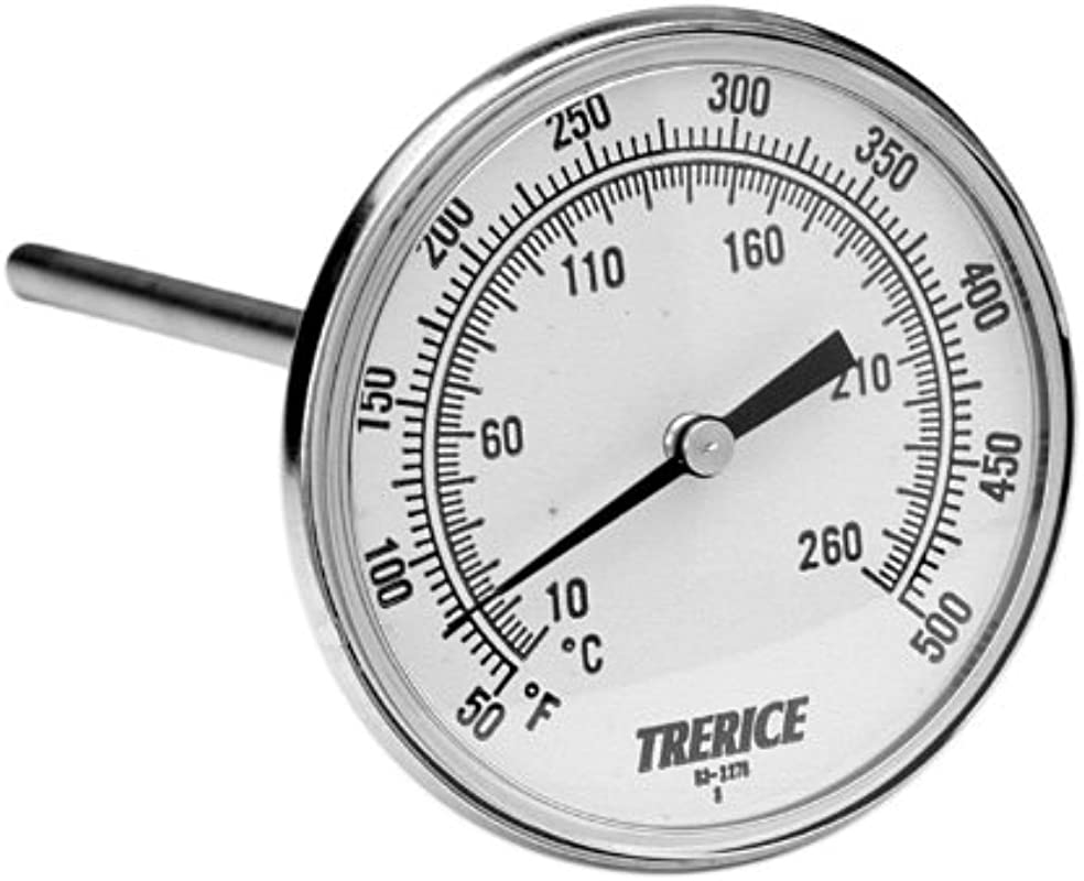 Trerice B831X0605 X Series OEM Bimetal Thermometer 1 2 NPT Connection 3 Face 6 Stem 20 240 F C