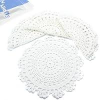 kilofly–Juego de pequeños hecho a mano Crochet redonda algodón encaje Tabla Doilies–Juego de manteles individuales para taza/cristal Pack [Set de 4], medallón, color blanco, algodón, Blanco, 9 pulgadas