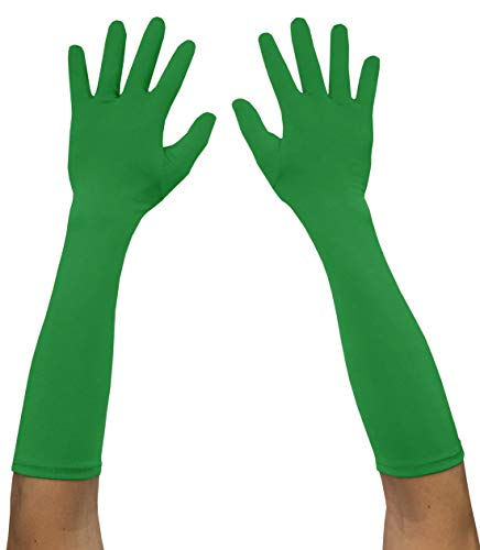 Seeksmile Adult Spandex Elbow Length Costume Gloves (Free Size, Green)